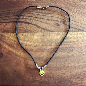 Vintage 1990's yellow smiley face necklace